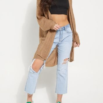 Tan Boucle Knit Slouchy Cardigan