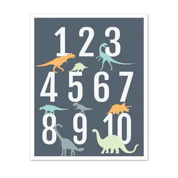 Dinosaur Numbers, Wall Art for Kids