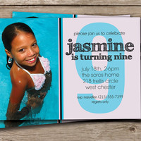 Photo Birthday Party Invitation Girl Birthday Invitation Bold Age Half Photo Custom Colors DIY Digital or Printed - Jasmine Style