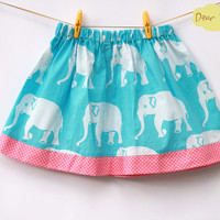 Blue Elephant Girl's Skirt, toddler skirt, cotton skirt, summer skirt