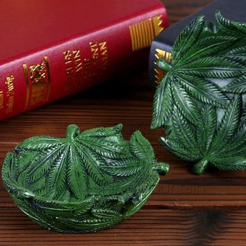 Resin Pot Leaf Green Ashtray