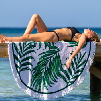 Tropical Palm Print Round Beach Towel