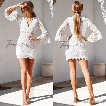 2019 Lace Short Party Dresses A Line Poet Long Sleeve V Neck Women Cocktail Homecoming Gowns Cheap 2559