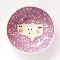 Ceramic face bowl -  face illustrated bowl - ceramic serving bowl in Lilac color- MADE TO ORDER