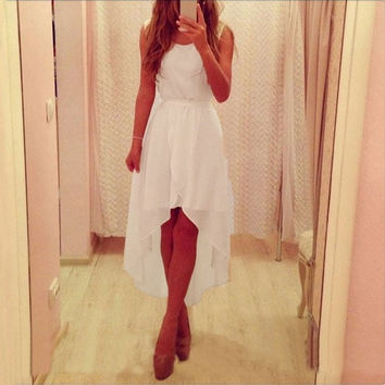 Summer New Sleeveless White Irregular Hem Long Chiffon Dresses Cocktail Party Slim Dresses White = 5738833665