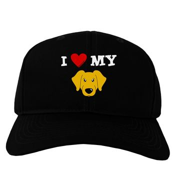I Heart My - Cute Yellow Labrador Retriever Dog Adult Dark Baseball Cap Hat by TooLoud