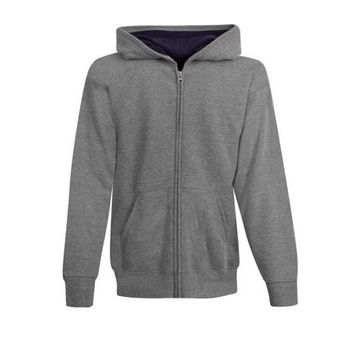 Hanes Boys' Better Basic Full Zip Hoodie, XL, Gray//Navy