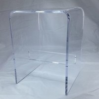 "1/2"" Clear Acrylic Lucite Plexiglass Shower Bench with Support Bar, NEW"