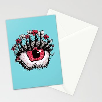 Eye Melt - Weird Red Eye With Flower Eyelashes Stationery Cards by borianagiormova