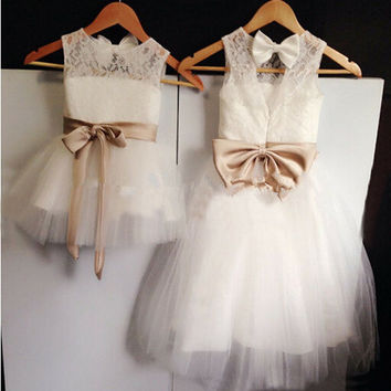 2016 New Real Flower Girl Dresses With Bow Sashes  Party Dress Pageant Dress for Wedding Little Girls Kids/Children dress