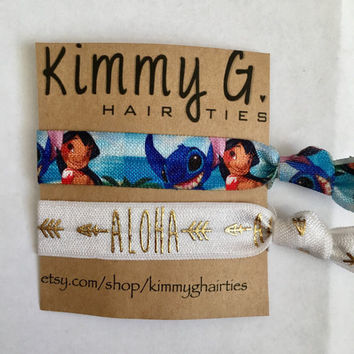 Lilo and stitch themed elastic hair ties. Lilo and stitch FOE, party favors, lilo and stitch party, disney hair ties