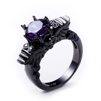 2016 New Black Gold Filled Amethyst Ring Sets Vintage Skull Shaped Ring purple AAA CZ Diamond Fashion ring For Women
