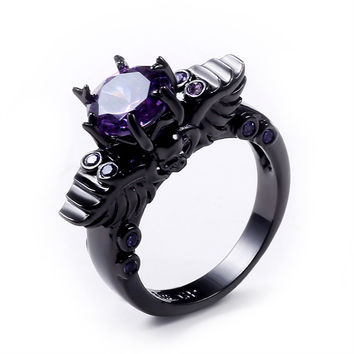 Gothic Nation -Black Amethyst Ring - Black Silver