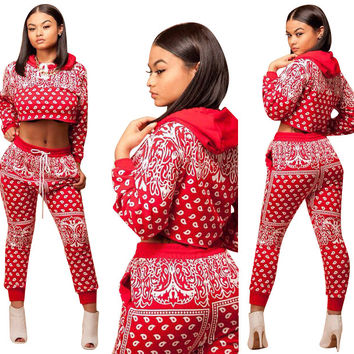 Abstract Printed Long Sleeve Hooded Crop Top and Elastic Pant Set in Red
