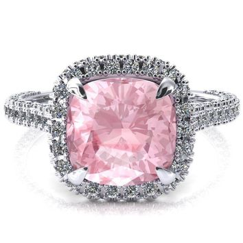 Taniya Cushion Pink Sapphire 4 Claw Prong Halo 3/4 Eternity 3 Sided Diamond Shank Cathedral Engagement Ring