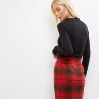 Red Check Brushed A-Line Skirt