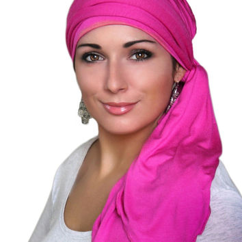 Hot Pink Jersey Turban, Head Wrap, Alopecia Scarf, Chemo Hat & Scarf Set