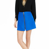 Blue High Waisted Zip Front A-line Skirt from EXPRESS