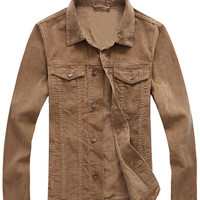 Solid Color Corduroy Double Pocket  Jacket