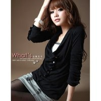 Long Sleeve Clothing Women New Style Autumn Apparel Casual Slant Button Black Cotton Tops One Size @GP0002b $9.89 only in eFexcity.com.