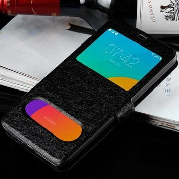 For Meizu M5C Case Cover Fashion Slim PU Leather Bags Window View Quick Answer Flip Cover Case For Meizu M5C Phone Case Capa