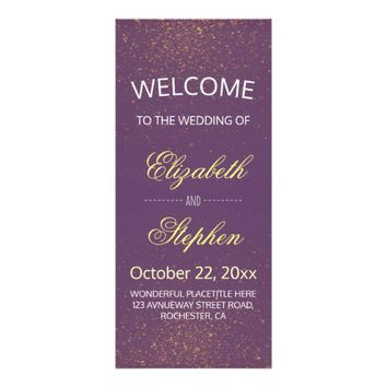 Chic Purple Gold Glitter Sparkle Wedding Program