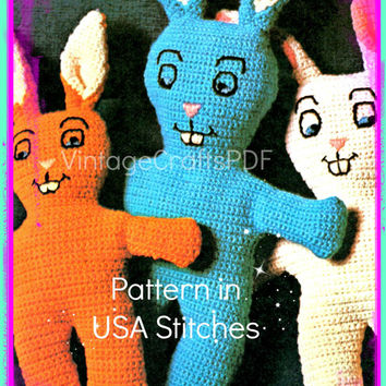 1970s Bunny Rabbits USA Stuffed Toy-Vintage Crochet Pattern-Toddlers Children-Vintage Plush Toy-Zoo Animal-Baby Toy-Vintage Crafts PDF