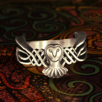 Celtic Owl Ring in Sterling Silver Traditional Woven Design CR-1011