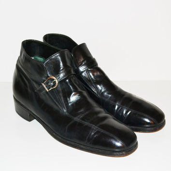 Vintage Florsheim Imperial Men's Ankle Boots Black Leather Beatle Boots with Buckle Motorcycle Biker Harness Boots