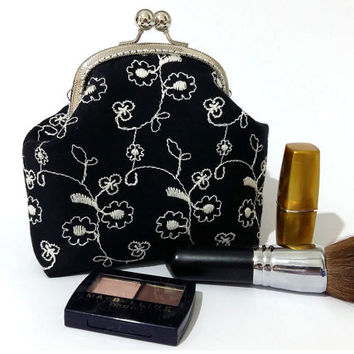 Cosmetic purse - Embroidered Black Kiss Lock Purse - Clutch Purse - Silver Frame
