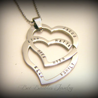 Mothers Day Gift - Hand Stamped Double Heart Necklace - Heart jewelry - Personalized Jewelry