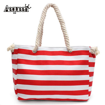 Summer Rope Handle Beach Bags Stripe Handbag Lady Shoulder Large Capacity Canvas Shopping Bag Striped Sailor Style Casual Totes