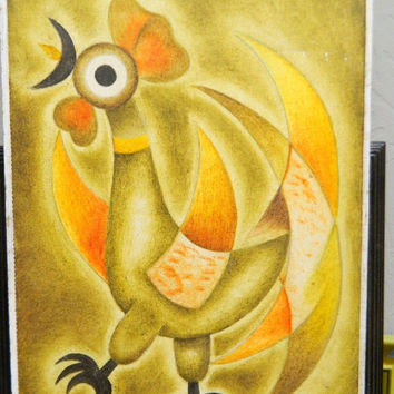 Holiday Sale Gustavo Martinez Mexican Artist, Vintage Gustavo Martinez Signed Oil Painting, Cock, Rooster, Abstract Oil Painting