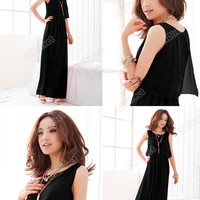 Women Princess Bohenmia Pleated Wave 2012 Lace Strap Chiffon Maxi Long Dress