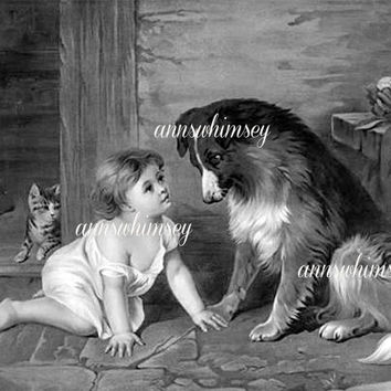 Child Dog Art Classic Can't You Talk