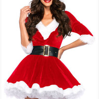 Newest 2016 christmas costumes Sexy Santa Baby Crystal Velvet Holiday Dress with Belt One Size santa claus costume