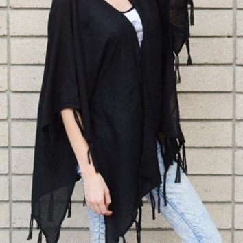 Night's Watch Tassel Kimono - Black