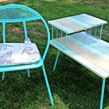 Painted Shabby Chic Table - Refinished Mid-Century Step Table - Beach Colors Patio Table - Restyled Side Table