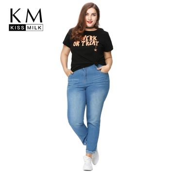 Kissmilk 2018 Women Plus Size Boy Friend Style  Letter Print Casual Loose Big Large Size 3XL 4XL 5XL 6XL Short Sleeve T-Shirt