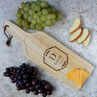 Design's Hanging Wine Shaped Personallized Cutting Board with Monogram Design Options & Font Selection (Each)