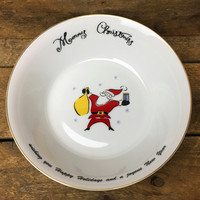 Merry Brite Christmas Tree Cereal/Soup Bowl with holiday message