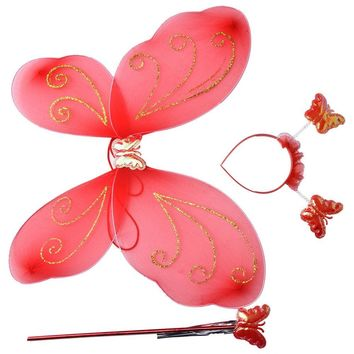 Fairy Princess Christmas Costume Butterfly Wing Wand Headband Lovely Party Costumes Princess Girl Kids 3 Pcs/Set