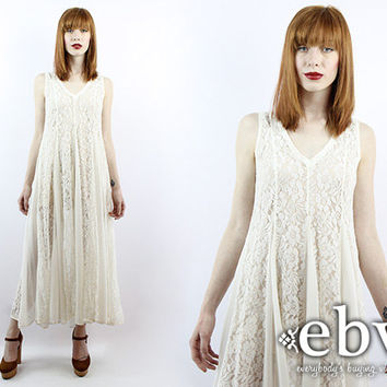 Vintage 90s Sheer White Lace Maxi Boho Wedding Dress Vintage Hippie Dress Hippie Wedding Dress Hippy Dress Hippy Wedding Dress Lace Dress