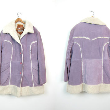 Suede 70s Coat Shearling Winter Coat Purple Leather Western Coat Button Up Oversized Sherpa Lined Coat Boho Hipster Country Women's Large XL