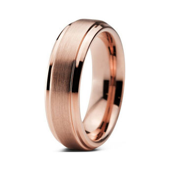 Double Groove Brushed Rose Gold Tungsten Ring