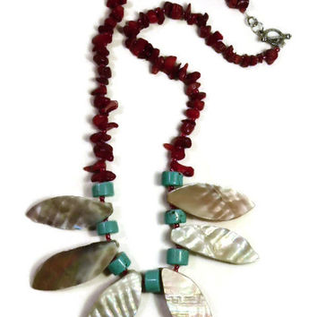 Beach theme jewelry, Red Coral, Shell Howlite Gemstone Necklace, Abalone shells, coral earrings, turquoise howlite, beachy jewelry, bohemian