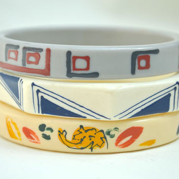 Hand Painted Bangles, Painted Bangles, Bracelets, Painted Bracelets, Acrylic Bangles, Vintage Bangles, 1960s Bangles, Bangles Set,Bangles