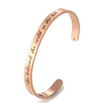 She Believed She Could So She Did Bangle Bracelet (Rose Gold)