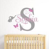Customized Name Elephant Butteryfly Wall Decal for Girls Kids Baby Room Mural Removable Vinyl Wall Sticker Free Shipping KW-115