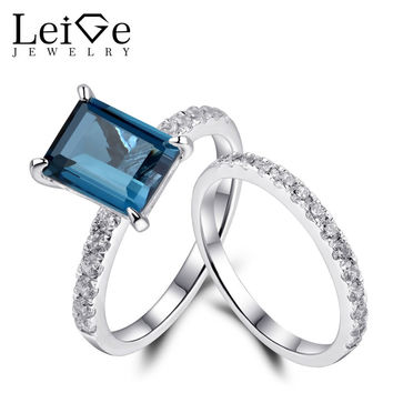 LEIGE JEWELRY 925 STERLING SILVER RINGS FINE JEWELRY LONDON BLUE TOPAZ WEDDING ENGAGEMENT RINGS SET FOR WOMEN EMERALD CUT